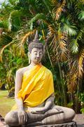 Buddhas at the temple of Wat Yai Chai Mongkol in Ayutthaya,Thailand Stock Photos