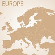 Europe map brown . Vector political with state borders - stock illustration