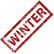 Winter rubber stamp - stock illustration