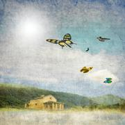 Vintage landscape with small house and colorful butterflies in flight Stock Illustration