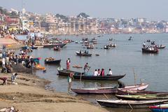 General View of Ghats and Ganges River in Varanasi, Uttar Pradesh, India Stock Photos