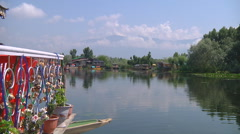 Houseboats at the Dal Lake in Srinagar, Jammu and Kashmir, India Stock Footage