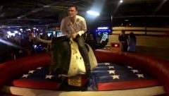 Mechanical Bull. Bullriding slow motion Stock Footage