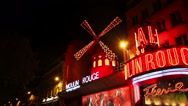 Stock Video Footage of The Moulin Rouge cabaret in Paris
