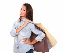 Shopaholic adult lady with her paper bags Stock Photos