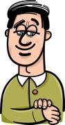 happy man cartoon illustration - stock illustration