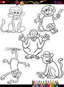 Stock Illustration of cartoon monkeys coloring book