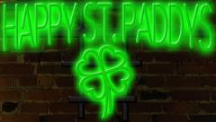 Happy St. Paddys Neon Sign Green Stock Footage
