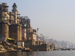 Western Bank of the Sacred Ganges River in Varanasi, India - stock photo