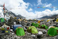 Tents at Everest Base Camp - stock photo