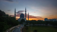 Sunrise at Shah Alam Blue Mosque, Timelapse 4K Stock Footage