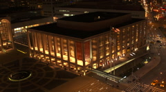 NY-LincolnCenter night high pan Stock Footage
