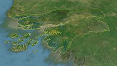 Glide over the satellite map of Guinea Bissau outlined Stock Footage