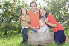 A happy family of four attractive caucasian catch apple on a fie Stock Photos
