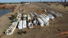 Drilling Rig Graveyard Aerial Stock Photos