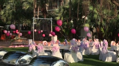 Waiting for the day of St. Valentina, Asian restaurant on the open air, ballons. Stock Footage