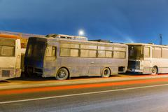 transport metropolis, traffic and blurry lights - stock photo