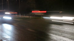 Night roadway and cars. Timelapse - stock footage