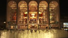 NY-LincolnCenter fountain night cu tilt Stock Footage