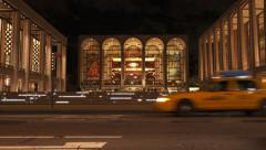 NY-LincolnCenter night taxis tilt Stock Footage