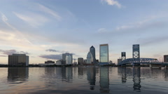 4K Time lapse zoom in sunset Skyline Jacksonville Florida Stock Footage