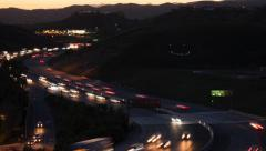 Smiley Face on a Hill over Freeway (4K) Stock Footage