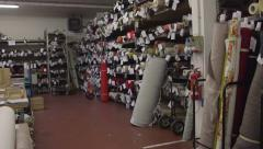 Rolls of fabric in sofas plant Stock Footage