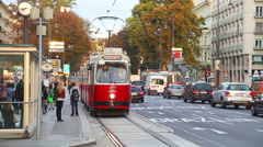 Old fashioned tram in Vienna, Austria Stock Footage