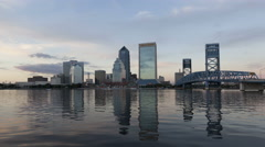 4K Time lapse zoom out sunset Skyline Jacksonville Florida Stock Footage