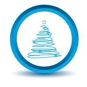 Blue fir-tree icon - stock illustration