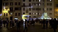 Tourists at Piazza della Rotonda by night. Rome Stock Footage