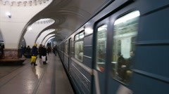 Subway train of Moscow metro. - stock footage