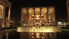 NY-LincolnCenter fountain night pan Stock Footage