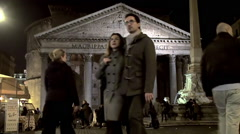 Tourists at Piazza della Rotonda with the Pantheon by night. Rome.  Time lapse. Stock Footage