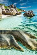 Anse Sous d'Argent beach with granite boulders Stock Photos