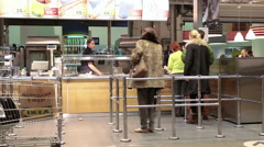 Ikea fast food restaurant is after checkout and warehouse. Stock Footage