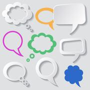 Speech and thought bubbles with shadows grey background - stock illustration