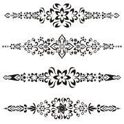Black vector vintage design ornamental elements for decoration - stock illustration