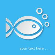 White fish icon with bubbles on blue background Stock Illustration