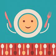 Retro restaurant menu background with cutlery and plate - stock illustration
