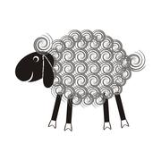 Cute sheep with black head and wool spirals Stock Illustration