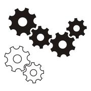 Black vector gear wheels icon on white background Stock Illustration