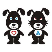Black vector cute and bad dog icons isolated Stock Illustration