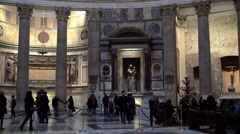 Tourists  inside of the Pantheon, Rome. Time Lapse. Stock Footage