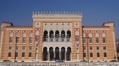 City Hall Sarajevo Stock Footage