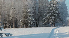 Russian winter village with horse paddock and snow covered forest at cold day Stock Footage