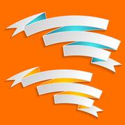 Two white vector ribbon banners on orange background - stock illustration