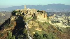 Italy, Civita di Bagnoregio landscape Stock Footage