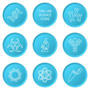 Blue modern circle thin line biology science icons - stock illustration