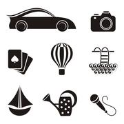 Black hobby and leisure icons on white background Stock Illustration